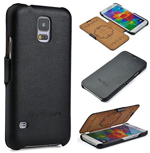 COINKEEPER Samsung Galaxy S5 / S5 NEO Hülle - ECHT LEDER - HANDGEFERTIGT - perfekter Schutz für Ihr Smartphone - Flip Case Etui Book Cover - Handyhülle in SCHWARZ (Smartphone Leder Etui)