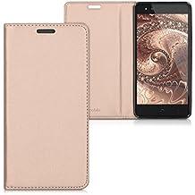 kwmobile Funda con tapa para bq Aquaris X5 Plus en oro rosa con recubrimiento de cuero sintético