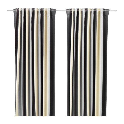 IKEA PRAKTLILJA 2 Gardinenschals in grau/beige; verdunkelt; (145x300cm)