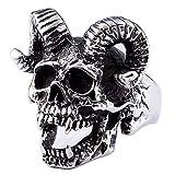 KIMCNB Joyería de Moda para Hombre 316L Anillos de Acero Inoxidable Hombres del Anillo del cráneo del Demonio Punky de Plata