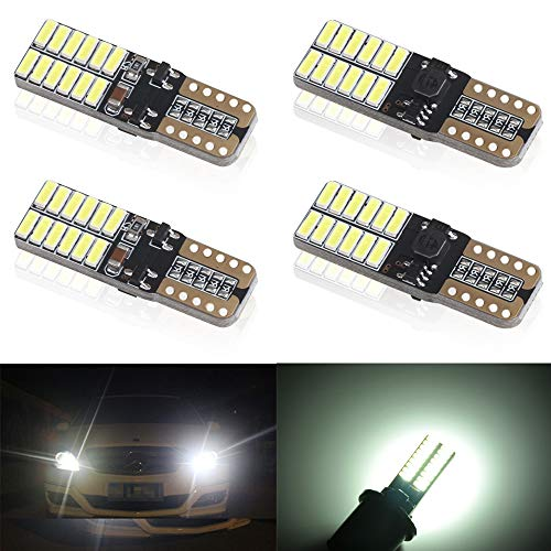 4pcs Bianca T10 W5W 4014SMD 24 leds 2825 168 Cuneo LED Auto Lampada CanBus Error Free 5W per Targa LED,Cupola, Retromarcia, Interior Segnale,Cruscotto Luce