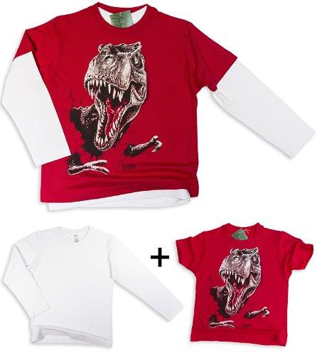 Bambini T-Rex T-Shirt in rosso + a maniche lunghe-shirt in bianco - Wildlife-shirts alogenato - Senza costi di spedizione - non I colori! rosso 104