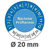 Avery Zweckform 6987 Prüfplaketten (120 Prüfaufkleber aus Vinyl, nächster Prüftermin 2019-2024, Ø 20mm, im praktischen Block) blau
