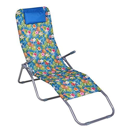Enrico coveri garden lettino sdraio basculante e reclinabile in acciaio e tessuto textilene, perfetta per arredo giardino, esterno e mare (azzurro)