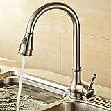 YAWEDA Dehnbare Wasserfilter Küchen-Hahn-Messingmischer-Wasser-Filter-Hahn-Küche-Wannen-Hahn-Wasser-Hahn, Gelb