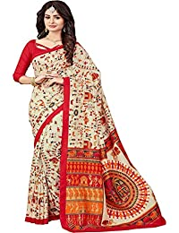 Macube Women's Bhagalpuri Silk Printed Saree With Blouse Piece - MS851_25_ Beige And Red_Free Size
