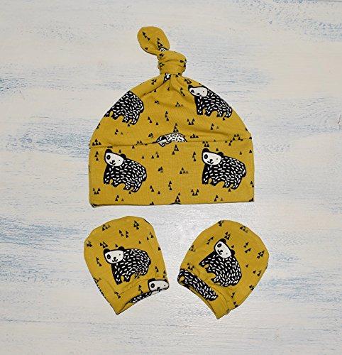 Senf-Bären Knotenmütze und Baby handschuhe Erstlingsset, Handarbeit aus Baumwollstoff