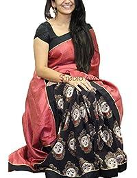 Florence Pink & Black Heavy Bhagalpuri Silk Printed Saree With Blouse