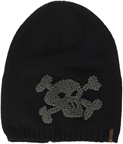 Barts Mütze 20504011 Strickmütze Baddy Beanie Black mit Totenkopf Pirat Grau Gr. 53