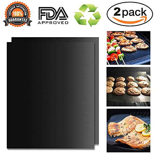 Oucles BBQ Grill Mat, Juego de 2 Non Stick Oven Liner, Sábanas...