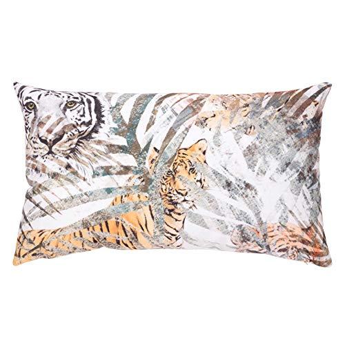Liza line cuscino arredo per divano, letto, poltrona, in velluto (animale tigre bianca - 50x30cm)