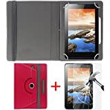 """Hello Zone Exclusive 360° Rotating 7"""" Inch Flip Case Cover + Free Tempered Glass For I KALL N7 Dual Sim 3G Calling Tablet -Pink"""