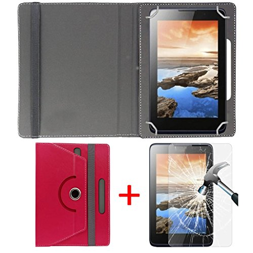 "Hello Zone Exclusive 360° Rotating 7"" Inch Flip Case Cover + Free Tempered Glass for Micromax Canvas Tab P701 -Pink"
