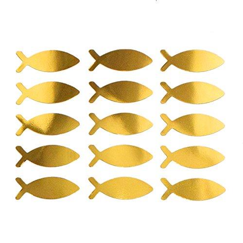 Oblique Unique® Fisch Sticker Gold Glänzend 15 STK. selbstklebend Aufkleber für Taufe Kommunion Konfirmation Deko