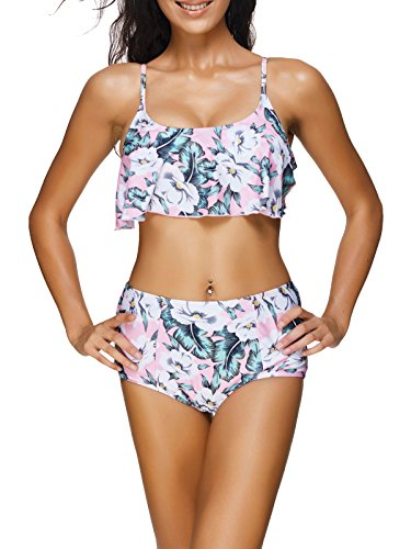 Spring Fever - Flower Solid Classic bikini Tankini costume da bagno Beachwear, donna, Pink, Small (UK: