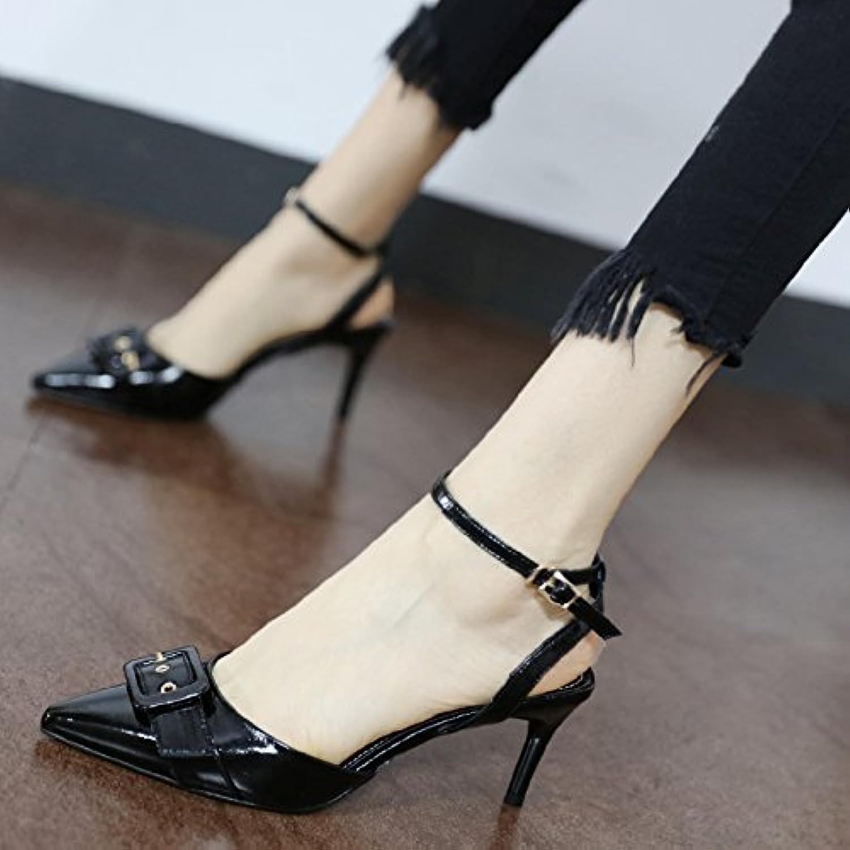 GaoXiao summer, new bouclée, style, peu profondes, a souligné, à la mode, bouclée, new sandales à talons haut.B07DGWMPZ9Parent 805269