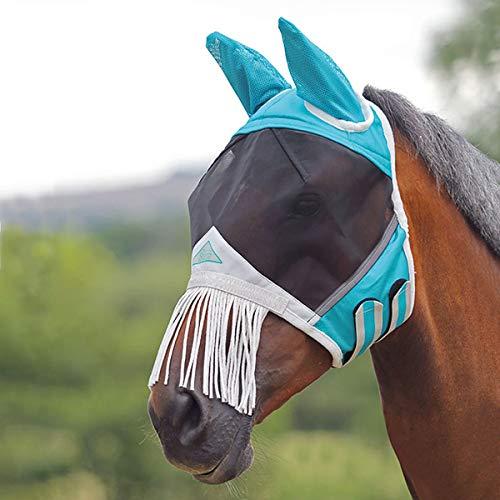 Shires Fliegenmaske mit Ohren und Nasenfransen, feines Netzgewebe, Blaugrün, blaugrün, Cob