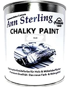 ann sterling kreidefarbe shabby chic farbe chalky white wei 1kg 750ml lack chalky paint. Black Bedroom Furniture Sets. Home Design Ideas