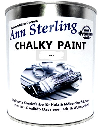 Preisvergleich Produktbild Ann Sterling Kreidefarbe Shabby Chic Farbe: Chalky White / Weiß 1Kg. / 750ml. Lack Chalky Paint