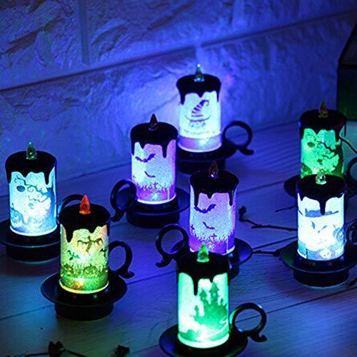 (SWIDUUK SEAWOOD Halloween Dekoration LED Flammenlose Kerze Stand Licht Akku Party Flash Tisch Lampe Zubehör Geschenk Multi)