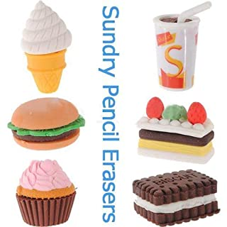 Well-Goal Assorted Food Novelty Cute Pencil Rubber Eraser Erasers Stationery Ice Cream Cake Kid Fun Toy