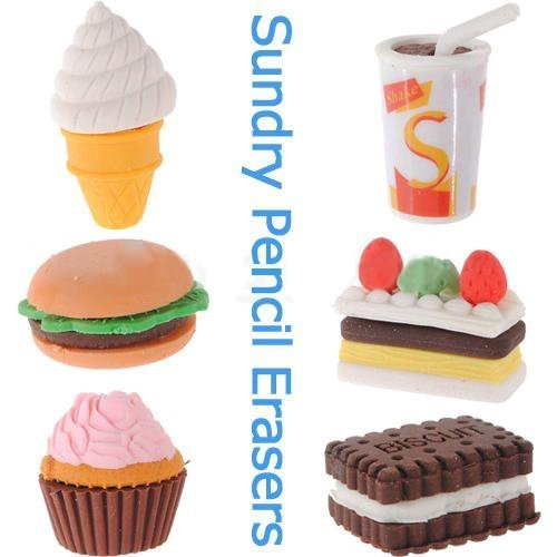 well-goal-assorted-food-novelty-cute-pencil-rubber-eraser-erasers-stationery-ice-cream-cake-kid-fun-