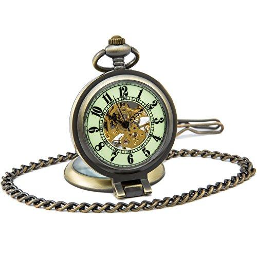 SEWOR Gentleman Stil Skelett Leuchtende Mechanische HandaufzugTaschenuhr (Steh auf Bronze) -