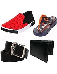 Earton Men Combo Pack Of 4 Loafers & Moccasins With Flip-flops,Belt & Wallet