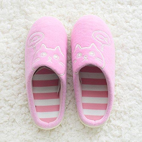 DogHaccd pantofole,Il cotone pantofole donna autunno e inverno caldo paio di spessore morbida antiscivolo indoor home stay Cartoon carino pantofole maschio Rosa2