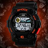 FENKOO Herren Armbanduhr Digital LCD/Kalender / Chronograph/Wasserdicht Caucho Band Schwarz Marke- SKMEI