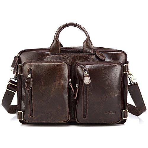 Imagen de baosha hb 22 vintage lienzo bolso de mano hombres del maletín  convertible bolsa de ordenador portátil  de viaje senderismo  cuero genuino marrón para laptop de 13~15.6 pulgadas  alternativa