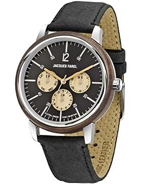 JACQUES FAREL hayfield nachhaltige Armbanduhr Multifunktion mit Walnussholz und Öko-Lederband schwarz, Stahlgehäuse...