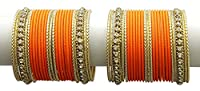 {Extra 20% Discount} Asian Style Ethnic Beautiful Crystal Stud Orange Bangles Partywear Jewellery (2.4)