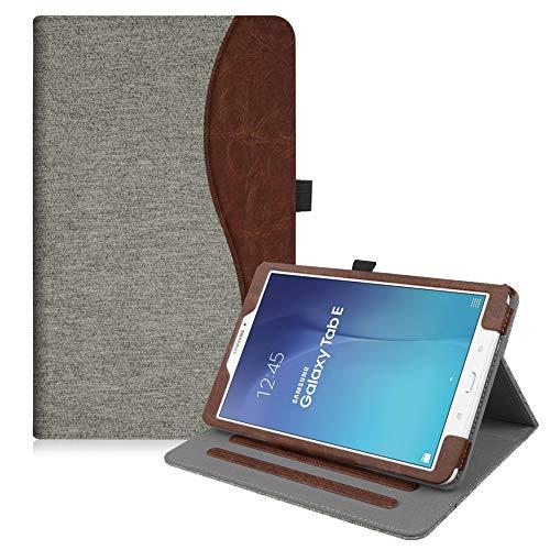 Fintie Hülle für Samsung Galaxy Tab E T560N / T561N (9,6 Zoll) Tablet-PC - Multi-Winkel Betrachtung Kunstleder Schutzhülle Etui mit Dokumentschlitze und Auto Schlaf/Wach Funktion, Denim grau