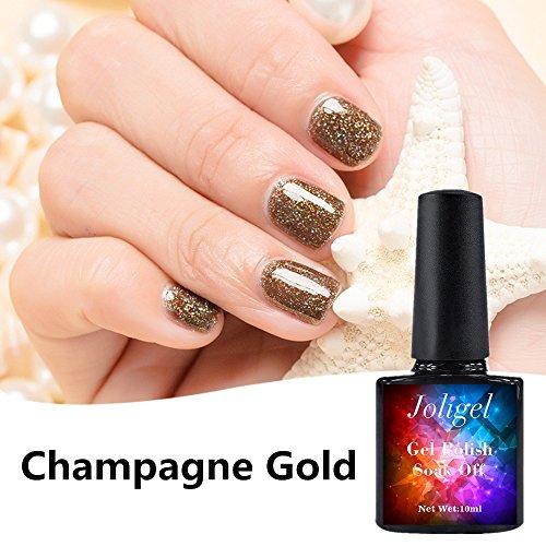 joligel Emaille semipermanenten für ständigen Gel Shellac Nagellack Maniküre Pediküre Nägel UV Led, gelb gold champagner mit purpurinas Hologramme (Farbige Champagner Tops)