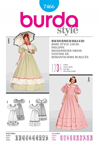 Burda Damen Schnittmuster, Kleid, 7466 Biedermeier Kostüm, Größe: 36
