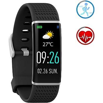 Reloj Inteligente Pulsera de Actividad con Pulsómetro y IP67 Impermeable Podómetro Monitor de Sueño Bluetooth SmartWatch