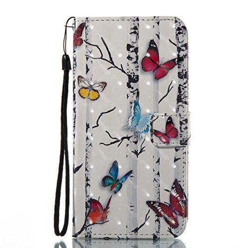 Custodia per iPhone 7 Plus Cover in Pelle, ZCRO PU Cuoio Portafoglio Caso Magnetica Flip Case 3D Colorate Pattern Cover Custodia Libro con Cinturino e Penna Stilo per iPhone 7 Plus 5.5 Pollici (Fiori) Farfalle
