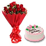 Floral Fantasy Cake and Fresh Flowers Bouquet of 10 Red Roses Bunch for Birthday Anniversary Friendship Day Best Wishes