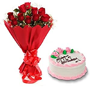 Floral Fantasy Cake And Fresh Flowers Bouquet Of 10 Red Roses Bunch For Birthday