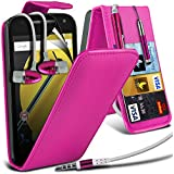Spyrox ( Hot Pink ) Motorola Moto E 2015 2nd Generation Hülle Abdeckung Cover Case schutzhülle Tasche Stylish Fitted PU Leather Flip With Credit / Debit Card Slot Case Skin Cover With LCD Screen Protector Guard, Polishing Cloth & Mini Retractable Stylus Pen