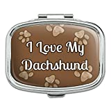 Rectangle Pill Case Trinket Gift Box I Love Heart My C-F - Dachshund