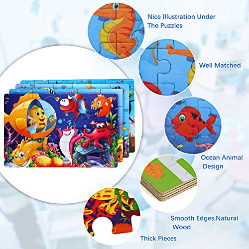 EPCHOO 4 Pack Jigsaw Wooden Puzzles Toy in a Box for Kids with 2 Sheet Paint Your Own Ocean World, 116pcs Varying Degree of Difficulty Educational Learning Tool Best Birthday Present for Boys Girls