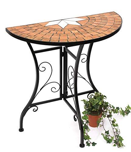 DanDiBo Tisch Halbrund Konsolentisch Merano Wandtisch 120041 Beistelltisch Metall Mosaik 70 cm