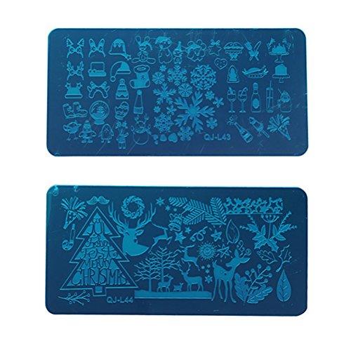 Frcolor 2 Pcs Nail Emboutissage Plaques Manucure Designs Art Stamping Plaque De Noël Nail Estampage Kits (QJ-L43 + QJ-L44)