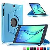 Infiland Samsung Galaxy tab A 9.7 Funda Case-PU Cuero 360°Rotación Smart Cover Cascara con Soporte para Samsung Galaxy Tab A 9.7 T550N/ T555N 24,6 cm WiFi/LTE Tablet-PC (9,7 pulgadas) (con Auto Reposo / Activación Función)(Azul Claro)