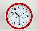 ZHDC® Creativo dell'orologio di temperatura Soggiorno Orologio da parete Mute e umidità Orologio da parete al quarzo Orologio Home wall clock ( Colore : Rosso )