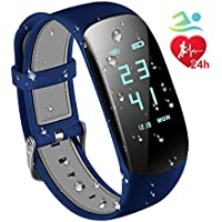 Fitness Trackers IP67 Waterproof with Heart Rate Monitor,Smart Fitness Bracelet Sport Pedometer Auto Activity Tracker, Step Tracker, Calorie Counter, Sleep Monitor for iOS Android Smart Phone