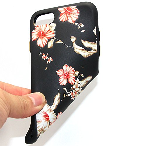 Custodia iPhone 7 Plus, iPhone 7 Plus Cover Silicone, SainCat Cover per iPhone 7 Plus Custodia Silicone Morbido, Creative Design Custodia Cover Flower Ultra Slim Silicone Case Ultra Sottile Morbida TP Althea
