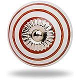 Ceramic Round Knob Red Circles on White Chrome Finish By Trinca-Ferro